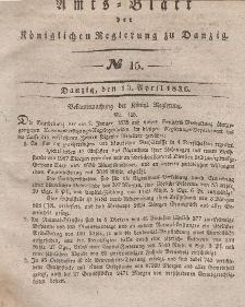 Amts-Blatt der Königlichen Regierung zu Danzig, 13. April 1836, Nr. 15