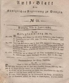Amts-Blatt der Königlichen Regierung zu Danzig, 8. Juni 1836, Nr. 23
