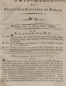 Amts-Blatt der Königlichen Regierung zu Danzig, 28. September 1836, Nr. 39