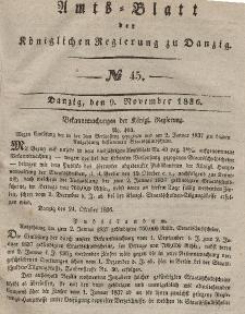 Amts-Blatt der Königlichen Regierung zu Danzig, 9. November 1836, Nr. 45