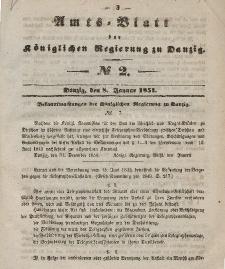 Amts-Blatt der Königlichen Regierung zu Danzig, 8. Januar 1851, Nr. 2