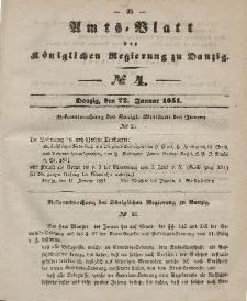 Amts-Blatt der Königlichen Regierung zu Danzig, 22. Januar 1851, Nr. 4