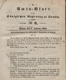 Amts-Blatt der Königlichen Regierung zu Danzig, 6. Februar 1851, Nr. 6
