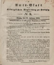 Amts-Blatt der Königlichen Regierung zu Danzig, 19. Februar 1851, Nr. 8