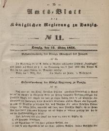 Amts-Blatt der Königlichen Regierung zu Danzig, 12. März 1851, Nr. 11