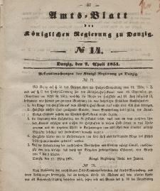 Amts-Blatt der Königlichen Regierung zu Danzig, 2. April 1851, Nr. 14