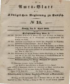 Amts-Blatt der Königlichen Regierung zu Danzig, 9. April 1851, Nr. 15
