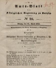 Amts-Blatt der Königlichen Regierung zu Danzig, 16. April 1851, Nr. 16