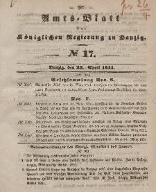 Amts-Blatt der Königlichen Regierung zu Danzig, 23. April 1851, Nr. 17