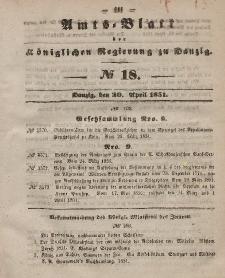 Amts-Blatt der Königlichen Regierung zu Danzig, 30. April 1851, Nr. 18