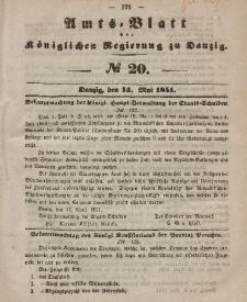 Amts-Blatt der Königlichen Regierung zu Danzig, 14. Mai 1851, Nr. 20