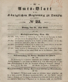 Amts-Blatt der Königlichen Regierung zu Danzig, 28. Mai 1851, Nr. 22