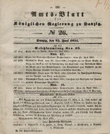 Amts-Blatt der Königlichen Regierung zu Danzig, 25. Juni 1851, Nr. 26