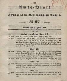 Amts-Blatt der Königlichen Regierung zu Danzig, 2. Juli 1851, Nr. 27