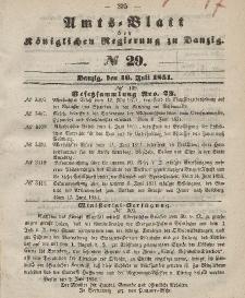 Amts-Blatt der Königlichen Regierung zu Danzig, 16. Juli 1851, Nr. 29