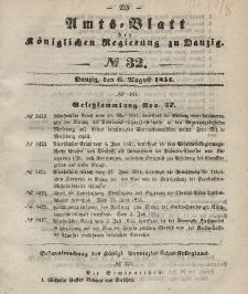 Amts-Blatt der Königlichen Regierung zu Danzig, 6. August 1851, Nr. 32