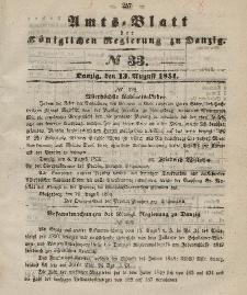 Amts-Blatt der Königlichen Regierung zu Danzig, 13. August 1851, Nr. 33