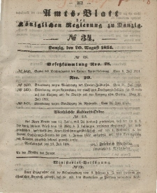 Amts-Blatt der Königlichen Regierung zu Danzig, 20. August 1851, Nr. 34