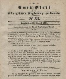 Amts-Blatt der Königlichen Regierung zu Danzig, 27. August 1851, Nr. 35