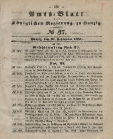 Amts-Blatt der Königlichen Regierung zu Danzig, 10. September 1851, Nr. 37