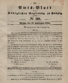 Amts-Blatt der Königlichen Regierung zu Danzig, 17. September 1851, Nr. 38