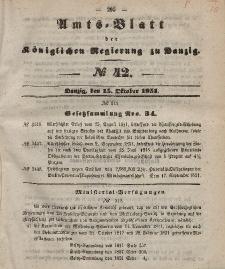 Amts-Blatt der Königlichen Regierung zu Danzig, 15. Oktober 1851, Nr. 42