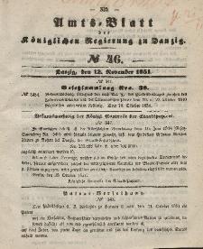 Amts-Blatt der Königlichen Regierung zu Danzig, 12. November 1851, Nr. 46
