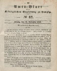 Amts-Blatt der Königlichen Regierung zu Danzig, 19. November 1851, Nr. 47