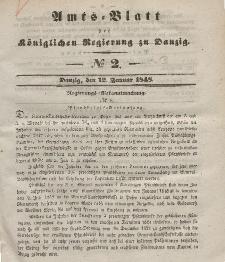 Amts-Blatt der Königlichen Regierung zu Danzig, 12. Januar 1848, Nr. 2