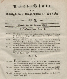 Amts-Blatt der Königlichen Regierung zu Danzig, 26. Januar 1848, Nr. 4