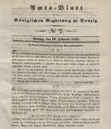 Amts-Blatt der Königlichen Regierung zu Danzig, 16. Februar 1848, Nr. 7