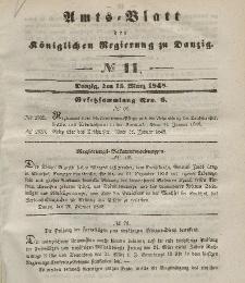 Amts-Blatt der Königlichen Regierung zu Danzig, 15. März 1848, Nr. 11