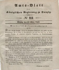 Amts-Blatt der Königlichen Regierung zu Danzig, 22. März 1848, Nr. 12