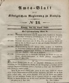 Amts-Blatt der Königlichen Regierung zu Danzig, 12. April 1848, Nr. 15