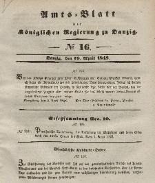 Amts-Blatt der Königlichen Regierung zu Danzig, 19. April 1848, Nr. 16