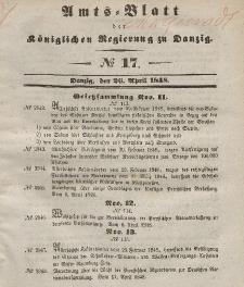 Amts-Blatt der Königlichen Regierung zu Danzig, 26. April 1848, Nr. 17