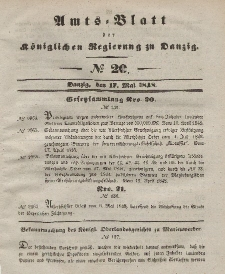 Amts-Blatt der Königlichen Regierung zu Danzig, 17. Mai 1848, Nr. 20