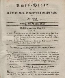Amts-Blatt der Königlichen Regierung zu Danzig, 31. Mai 1848, Nr. 22
