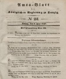 Amts-Blatt der Königlichen Regierung zu Danzig, 7. Juni 1848, Nr. 23