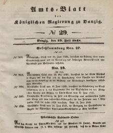 Amts-Blatt der Königlichen Regierung zu Danzig, 19. Juli 1848, Nr. 29