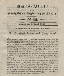 Amts-Blatt der Königlichen Regierung zu Danzig, 9. August 1848, Nr. 32