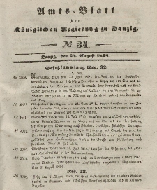 Amts-Blatt der Königlichen Regierung zu Danzig, 23. August 1848, Nr. 34