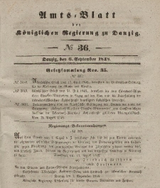 Amts-Blatt der Königlichen Regierung zu Danzig, 6. September 1848, Nr. 36