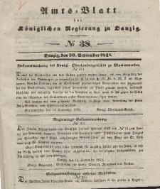 Amts-Blatt der Königlichen Regierung zu Danzig, 20. September 1848, Nr. 38