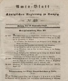 Amts-Blatt der Königlichen Regierung zu Danzig, 27. September 1848, Nr. 39