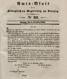 Amts-Blatt der Königlichen Regierung zu Danzig, 4. Oktober 1848, Nr. 40
