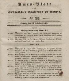 Amts-Blatt der Königlichen Regierung zu Danzig, 25. Oktober 1848, Nr. 43