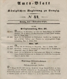 Amts-Blatt der Königlichen Regierung zu Danzig, 1. November 1848, Nr. 44