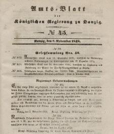 Amts-Blatt der Königlichen Regierung zu Danzig, 8. November 1848, Nr. 45