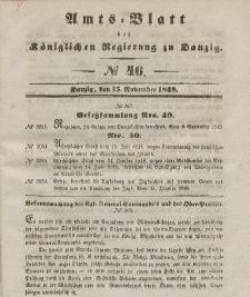 Amts-Blatt der Königlichen Regierung zu Danzig, 15. November 1848, Nr. 46